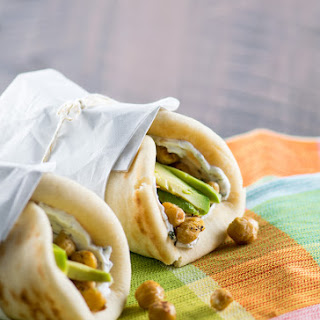 Crispy Chickpea Wraps with Herbed Goat Cheese.