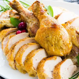 Dry Brined Butterflied Roasted Chicken.