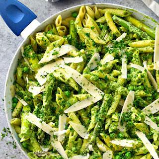 Ricotta Pesto Penne with Peas + Asparagus.