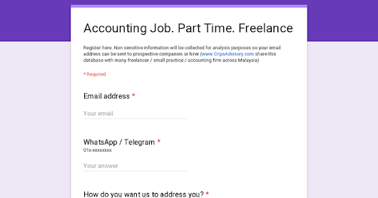 Accounting Job. Part Time. Freelance