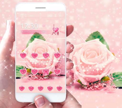 粉玫瑰主題 –愛的禮物3D桌面主題壁紙