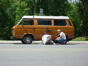 Photo: Mathieu, me and Babe, a first meeting in Rigaud Que. Babe is a 1982 Vanagon L with a conversion to a 1.9L turbo diesel engine. Full Westfalia camper, originally from California.