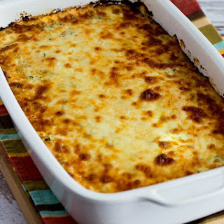 Low-Carb Sausage and Roasted Peppers Mock Lasagna Casserole.