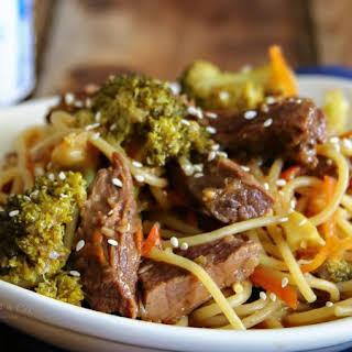 Slow Cooker Teriyake Beef Lo Mein.