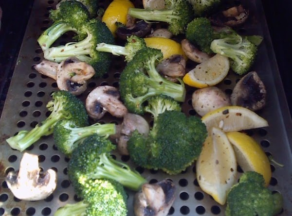 Grilled Broccoli & Mushrooms With Lemons Recipe