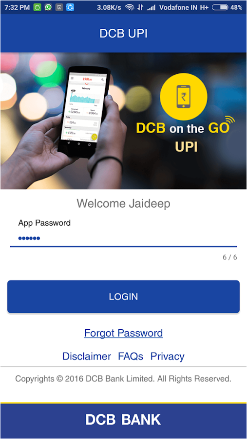 DCB Bank UPI App- screenshot