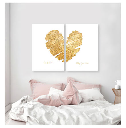 HEART OF GOLD DELAT HJÄRTA PARPOSTERS 2 ST POSTERS