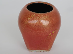 Photo: Double cased Murano vase with gold leaf.