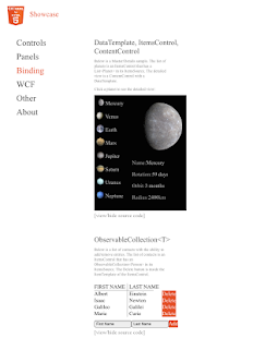 C#/XAML for HTML5 Showcase- screenshot thumbnail