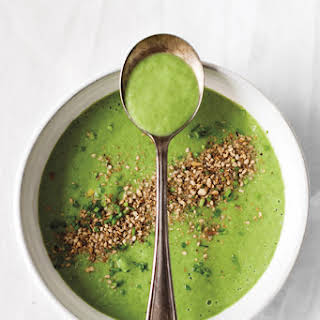 Cucumber and Avocado Soup with Mint and Dukkah.