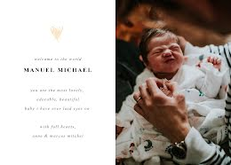 Manual's Birth Announcement - New Baby Announcement item