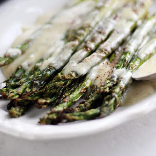 Roasted Asparagus with White Cheddar Sauce.