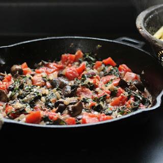 Creamy Mushroom, Tomato and Kale Penne Pasta.