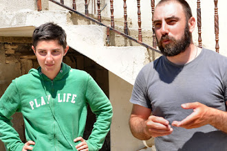 Photo: Two members of 'Operation Dove', an Italian Organisation that supports the villagers against all kinds of physical and other harrasment, even against children, by the Jewish settlers and Israeli soldiers. They and the villagers never use violence. There main resistance is not leaving there village and land.