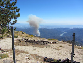 Photo: 2:32 p.m. - View south toward the Williams Fire 2012  from the ruins of South Mount Hawkins Fire Lookout