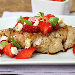Balsamic Chicken with Strawberries, Basil and Feta Cheese