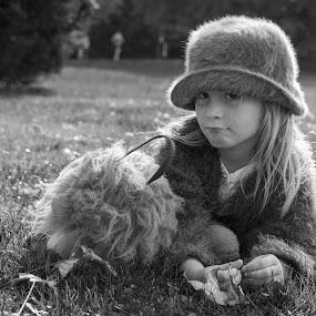 I wanna go home! by Nistorescu Alexandru - Black & White Portraits & People ( #nosmile, #bw, #teddybear, #girl, #tired, #park,  )
