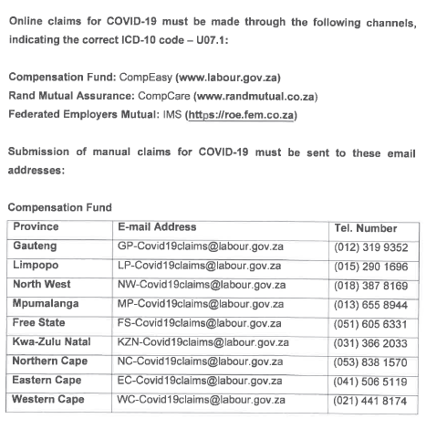 Where to submit claims for the labour department's compensation fund.