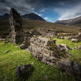 Old stones. by Haim Rosenfeld - Landscapes Mountains & Hills ( exposure, scotland, old, europe, mountain, colorful, ruin, land, stone, rock, landscape, long, shot, mountains, sky, kingdom, nature, movement, ruins, long exposure, rock formation, light, foreground, clouds, wind, uk, united, windy, grass, dream, green, beautiful, mood, scottish, image, highlands, photo, picture, great, blue, moody, scene, brown, scenery, stunning, medieval, britain, river )