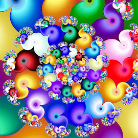 Parade of Rainbow Elephants by Peggi Wolfe - Illustration Abstract & Patterns ( abstract, wolfepaw, gift, unique, bright, illustration, fun, digital, print, décor, ultrafractal, pattern, color, unusual, fractal )