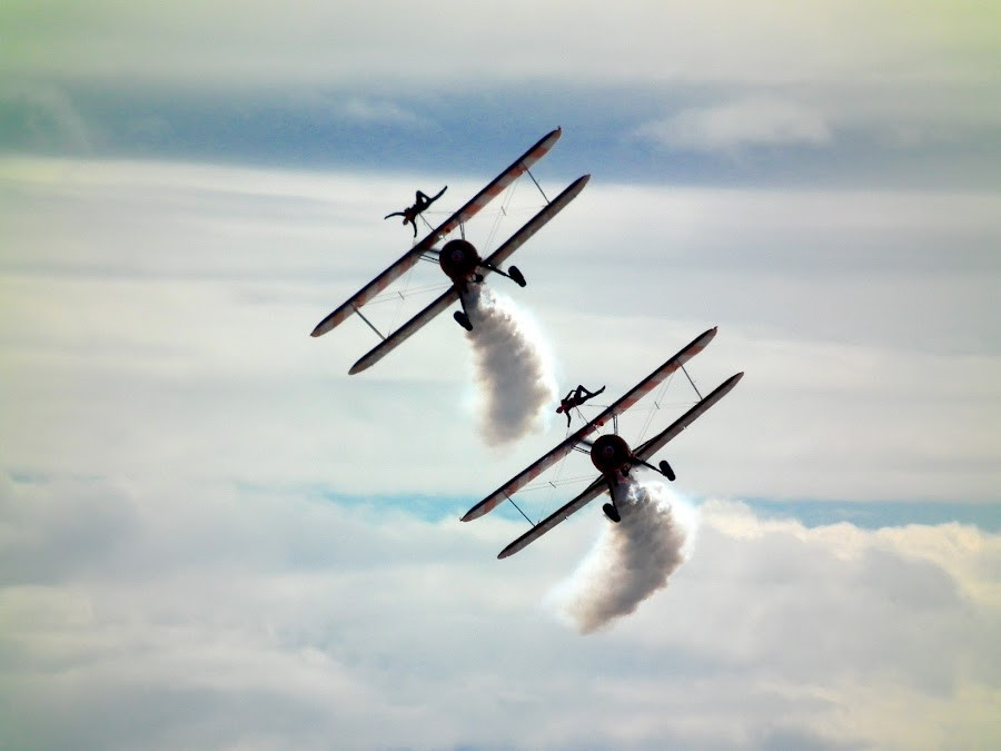 Bi-planes at Blackpool air show by Philip Morris - Transportation Airplanes ( bi-planes, blackpool, air show )