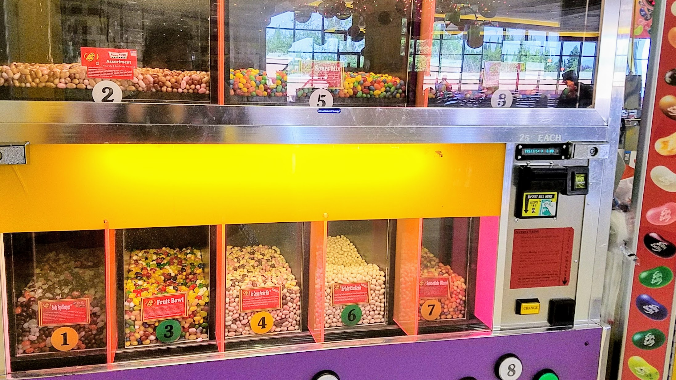 Jelly Belly Factory, Cafe area in Fairfield, California has fun candy machines