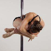 Photo: Angela Perry vertical pole gymnastics at Pole Fitness Studios(c)