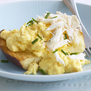 Scrambled Eggs on Brioche with Crabmeat.