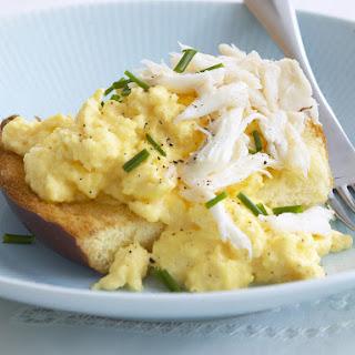 Scrambled Eggs on Brioche with Crabmeat.