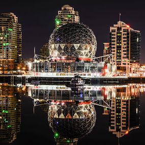 Mirrored Science World by Cory Bohnenkamp - Buildings & Architecture Public & Historical ( mirror, expo 86, building, golf ball, reflections, night, vancouver, science world )