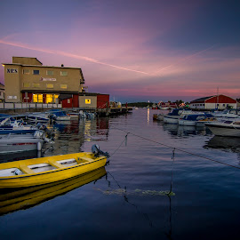 Yellow Boat by Charles Ong - Transportation Boats