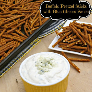 Buffalo Pretzel Sticks with Blue Cheese Dipping Sauce.