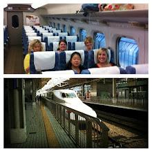 Photo: Collage.  Shinkansen (bullet train) to Kyoto.