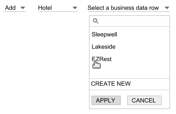 Select a business data table and row.