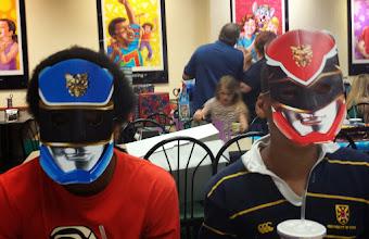 Photo: Miles & Q in masks