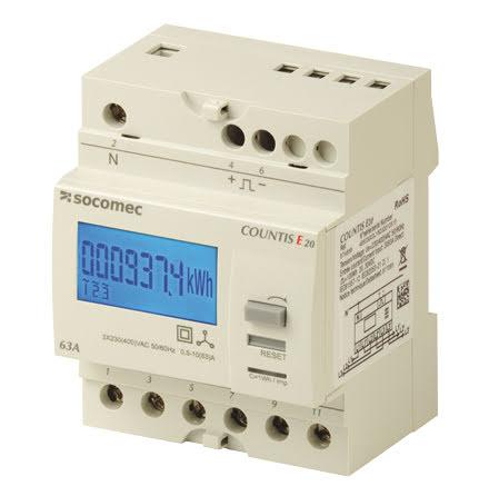 kWh mätare, digital  4 modul, 3 fas, klass 1, 63A, pulsutg.