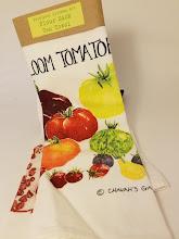 "Photo: Tea Towels by ""Practical Kitchen Art"" Artist Sydney C'de Baca at Chavah's Garden https://www.chavahsgarden.com/"