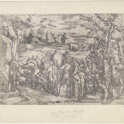 mozes slaat water uit de rots battista franco 1508