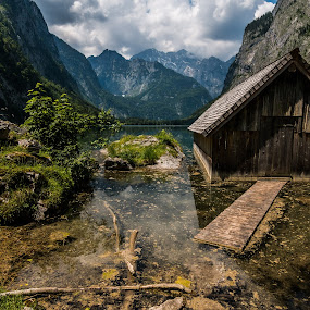 Cabin by the lake by Celestyx Celestyx - Buildings & Architecture Other Exteriors ( water, cabin, mountain, wood, lake )