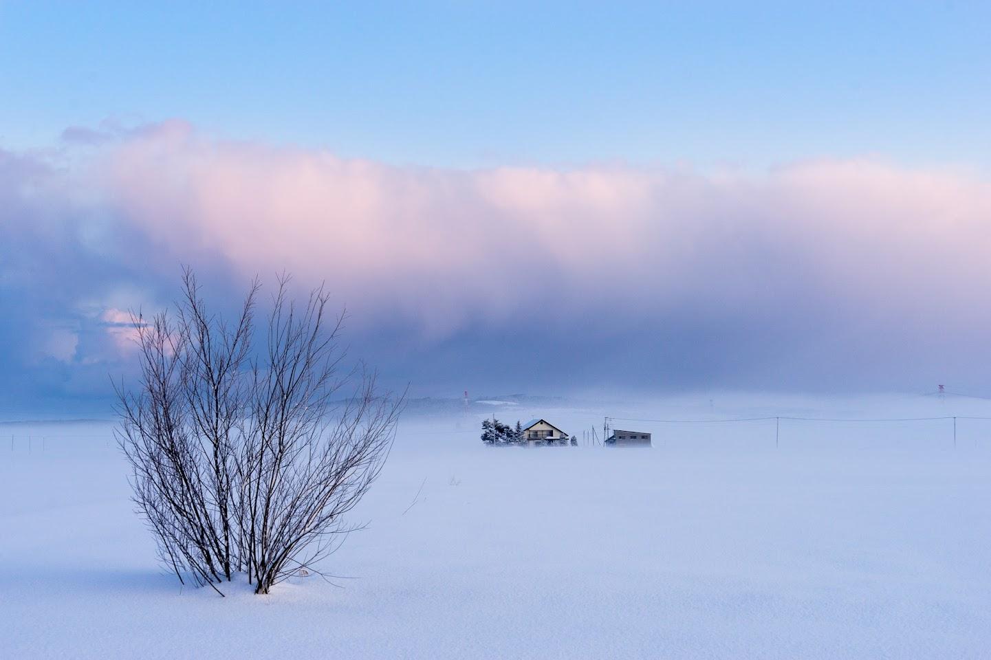 雲と大地とが溶け合う風景