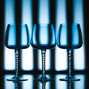 Blue glasses by Laurentiu Lupascu - Artistic Objects Glass ( glasses, glass, three, reflections, objects, shadows )