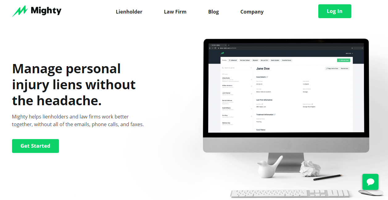 An example of a business website with a bright green highlight by Mighty