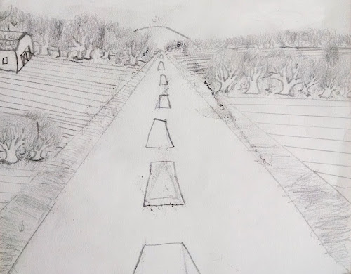 Pencil drawing of a country road with trees and a farm