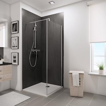 Paroi latérale pour portes de douche pivotantes, 80 ou 90 cm