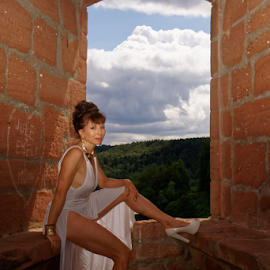 The Heart by Johannes Oehl - People Fashion ( muscular, romanesque, dress, castle, female hairstyle, 12th century, thigh, fashion-photography, apparel, rheinland-pfalz, lower arm, upper-arm, looking at camera, building, frankenstein castle, leg, beautiful, lightblue, up do, one female adult only, rhineland-palatinate, place of interest, medieval architecture, wardrobe, female, shoulder, costume, ruin, brickwork, pfalz, upper leg, german ethnicity, july, 11 brown iris, thin, red sandstone, person, outside, stone wall, underarm, brick wall, germany, palatinate, martin-schultz scale, sandstone, 55-60 years, summer, bow window, brunette, lower leg, brick, europe, arm, architecture, 1 person, frankenstein, brunet, middle ages, sexy, medieval, people-photography, brown eyes, necklace, brown hair, clothes, dark mixed eyes, stone, outdoor, knee, jewellery, blue, outdoors, window, dark age, fair skin, wall, summertime, sitting, fashion )