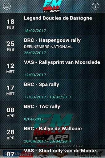 FM rally APP screenshot 2