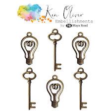 Ken Oliver Metal Embellishments 6/Pkg - Vintage Bulbs & Keys