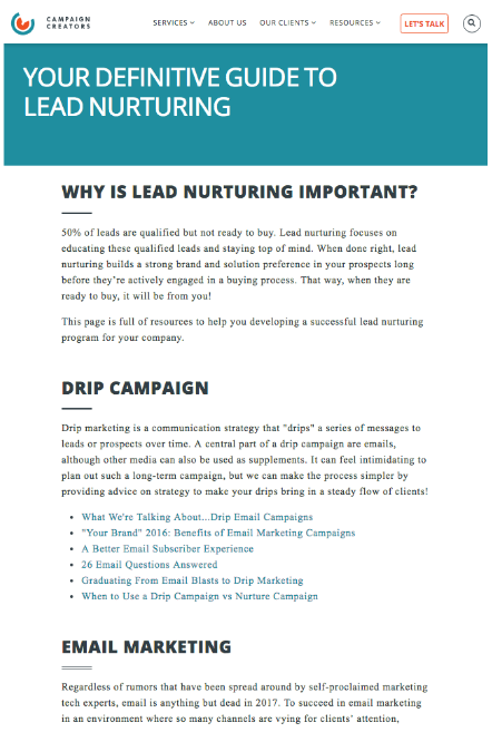 lead-nurturing-pillar-page-example