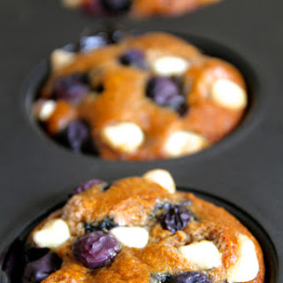 Flourless White Chocolate Blueberry Muffins