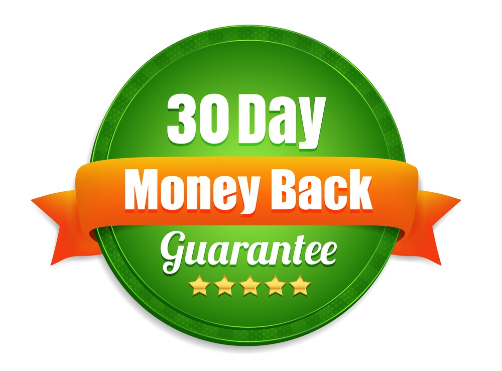 No questions asked 100% money back guarantee